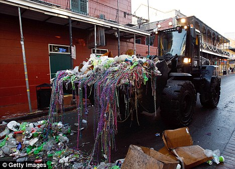Top spot: The clean up from Mardi Gras as well as the devastation of Hurricane Katrina which can still be seen put New Orleans at number one