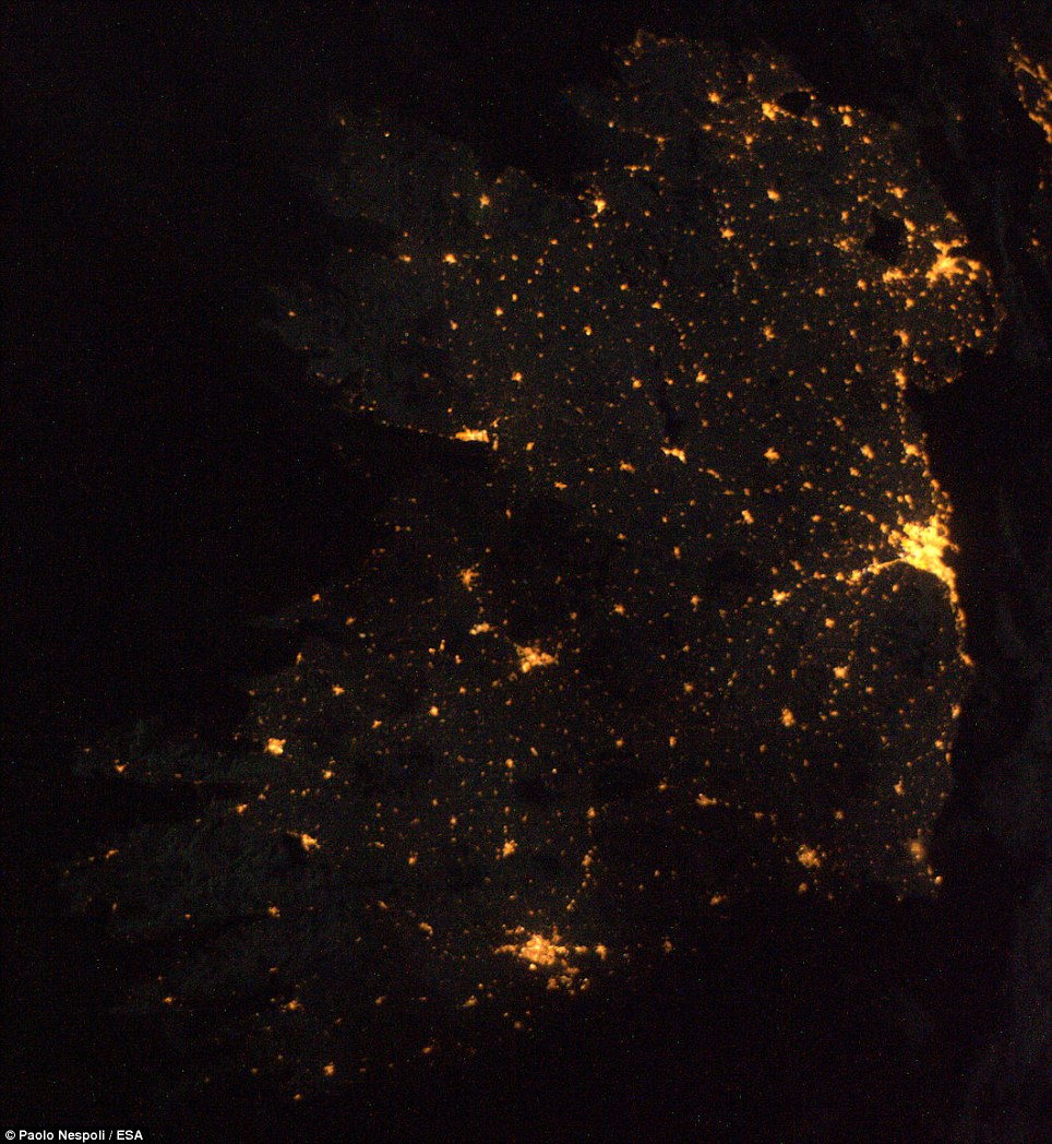 Belfast, Dublin and Cork are prominent in this image of Ireland and Northern Ireland