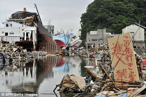 Still in ruins: The disaster zone in Kesennuma, Miyagi prefecture, on June 18, 2011, 100 days after the earthquake and tsunami