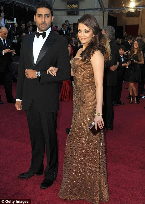 Super couple: Aishwarya Rai and Abhishek Bachchan appeared at this year's Academy Awards ceremony in Hollywood