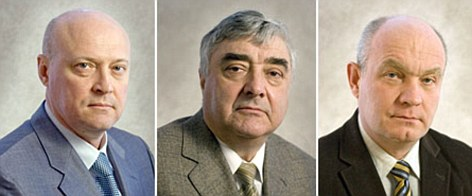 Killed (l to r): Three of the five Russian scientists who died in a plane crash were named as Sergey Ryzhov, Gennady Banyuk and Nikolay Trunov