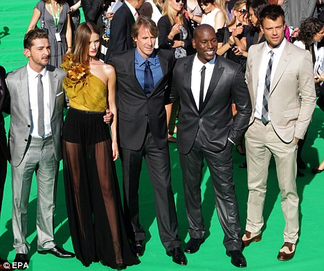 What a cast: Rosie with Shia LaBeouf, Michael Bay, Tyrese Gibson and Josh Duhamel
