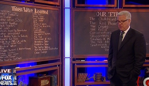 The infamous chalk boards: CNN may have graphics, but Fox has chalkboards, Beck told his audience