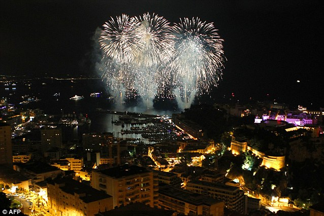 Spectacular: A general view of fireworks during the festivities which took place after the religious ceremony