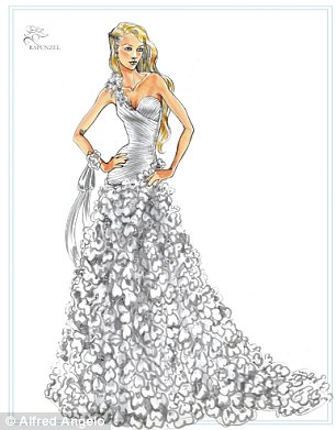 Design stages: The sketches for the Cinderella dress and the detailed Rapunzel gown