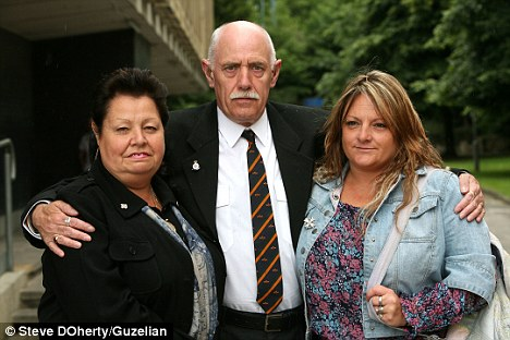 Painful: Sgt Peter Rayner's family gathered at the inquest- his widow Wendy Rayner, right, mother Bernadette Rayner, left, and father Peter Rayner