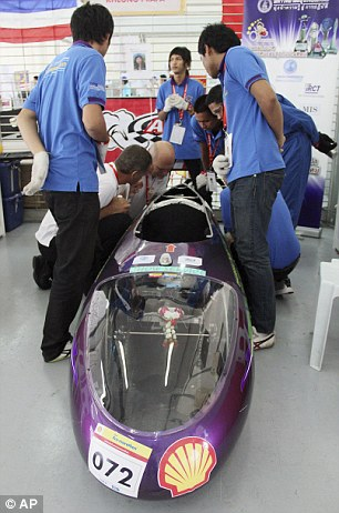 Engineers from from Dhurakij Pundit University in Thailand inspect their bubble-shaped design