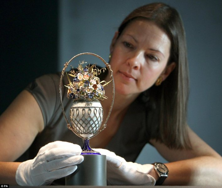 One very valuable flower pot: Royal Collection curator Caroline de Guitaut admirers Fabergé's glittering Basket of Flowers egg was originally commissioned by Tsar Nicholas II in 1901
