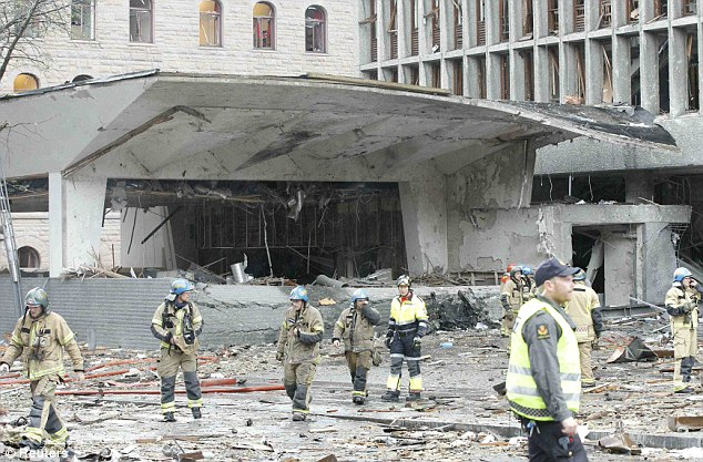 Explosion: The remains of a building caught up in the blast