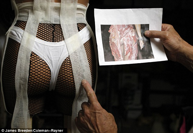 Rump roast: Using a mannequin, Vigilato shows how Gaga's meat dress would look on