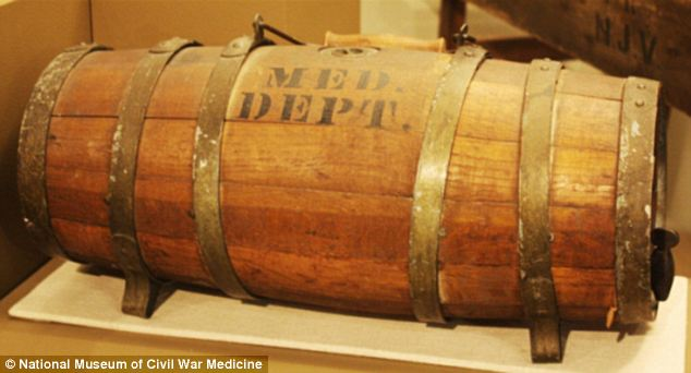 Civil War ambulances were typically equipped with two of these water kegs, issued by the U.S. Medical Dept