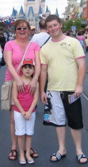 Close family: A holiday photo of Angela Sharkey with her eight-year old daughter Bridget and 21-year-old son Thomas