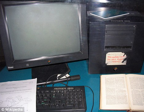 This NeXT Computer used by Tim Berners-Lee at CERN became the first web server