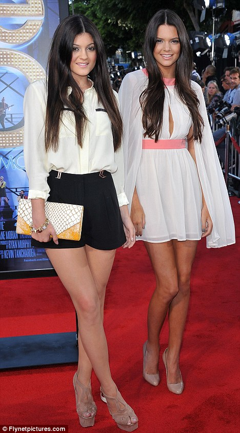 Sister act: Kendall and Kyle Jenner looked older than their years at the premiere for Glee The 3D Concert in Los Angeles last night