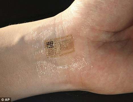 Skin deep: The sensor is so thin it can be worn comfortably on the skin without the patient noticing it