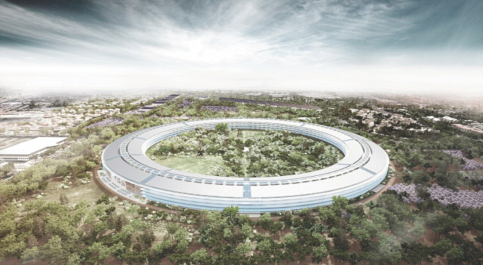 Futuristic: This incredible new image shows what Apple's new HQ in Cupertino, California, will look like when completed in 2015