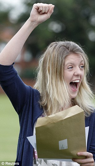 Alison Coxon's reaction is clear as she opened her results revealing five A* grades at A-level