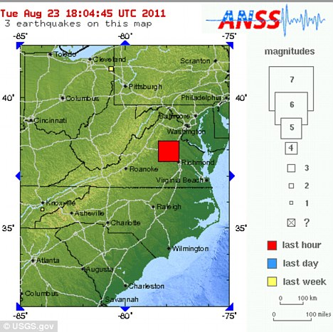 Quake: Map on the U.S. Geological Survey website marks the epicenter of the earthquake in Mineral, Virginia
