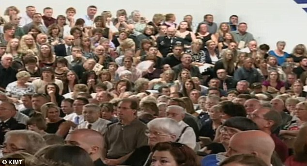 Packed: His funeral was held in his hometown of Rockford, Iowa, at the Rudd-Rockford-Marble Rock Community School
