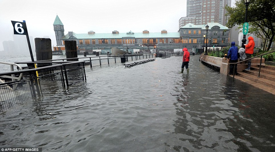 Surge: A walkway at the southern part of Battery Park in Lower Manhattan today as Irene strikes the city