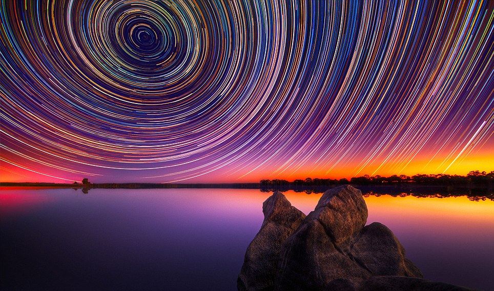 Shooting stars: Photographer Lincoln Harrison spent up to 15 hours taking these long exposure pictures over Lake Eppalock near Bendigo in Victoria, Australia