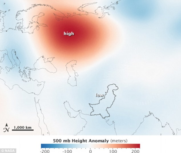 Hotspot: This map shows areas of relatively high pressure (red) over Russia and the resulting low pressure (blue) over Pakistan in August 2010