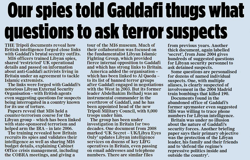 Our spies told Gaddafi..