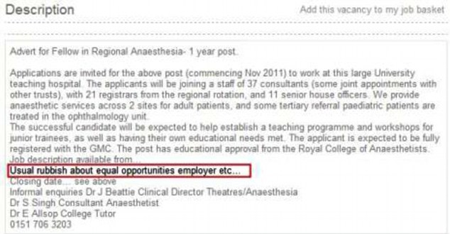 Oops! The advert by the Royal Liverpool & Broadgreen University Hospital NHS Trust invited applications for as a trainee anesthetist - and contained the wording blunder highlighted in red