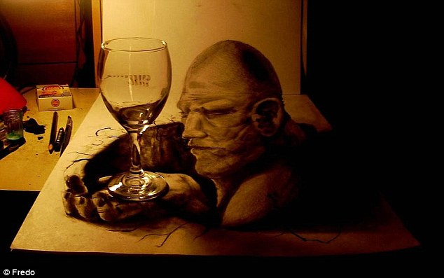Down time: This man is waiting with an empty glass of wine
