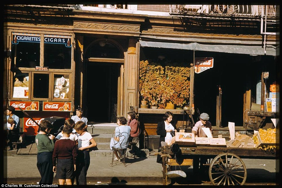 Shops: Near the corner of Broome Street and Baruch Place in the Lower East Side on September 27, 1941