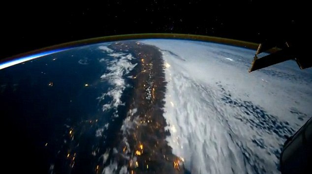 The South American coast can be seen from the space station which travels at about 220 miles from the Earth's surface