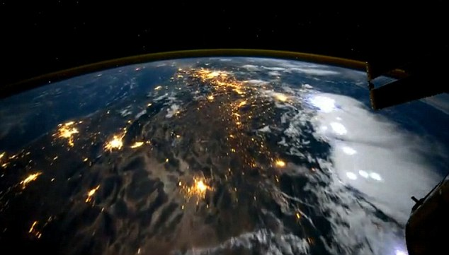 The Earth is shown at night - and the yellow flashes here show the ionosphere - a part of the upper atmosphere, comprising portions of the mesosphere, thermosphere and exosphere