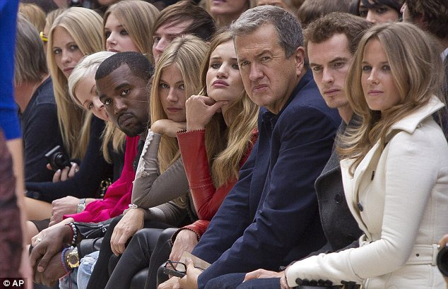 Guests of honour: Kanye West, centre left, alongside, from left, Sienna Miller, Rosie Huntington-Whiteley, Mario Testino, Andrew Murray and Kim Sears