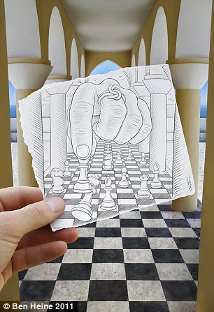 Trick of the eye: Ben Heine's drawing takes optical illusion to a new level as this floor is turned into a giant chessboard in this image