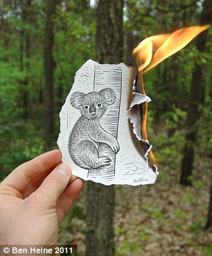 Fire starter: The koala bear could be out of time as the flames creep towards the tree he is clung to