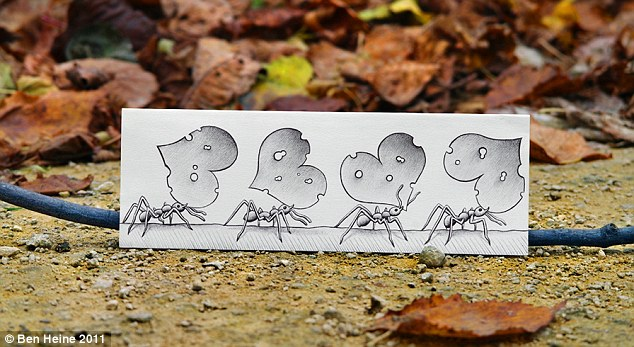 Chain gang: These worker ants have been magnified as they walk across the twig in this piece