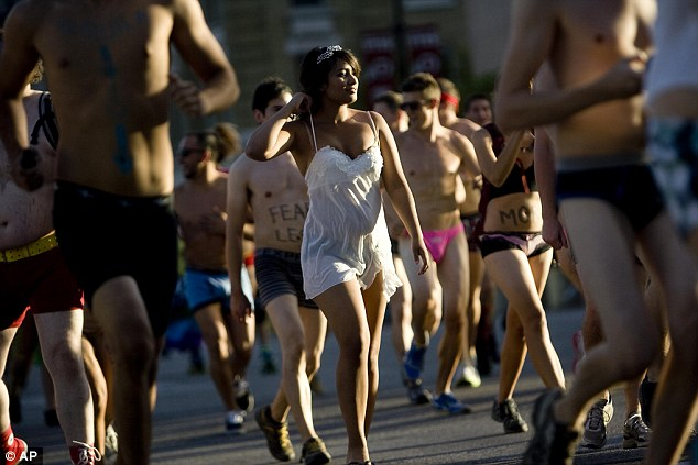 Attracting attention: A huge variety of underwear was worn by runners