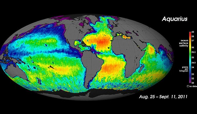 This Nasa map shows salt levels in the world's oceans. In the image, areas in red and yellow have high salinity whilst those in blue and purple have low levels