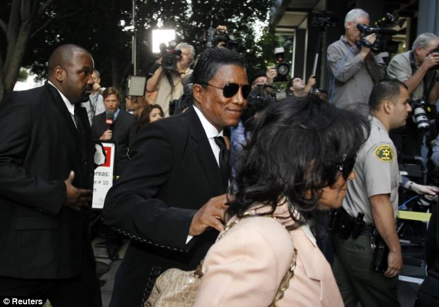 Brother: Jermaine Jackson arrives during the opening day of Dr Conrad Murray's trial