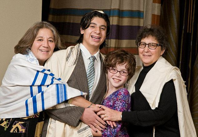 Here is Tammy with her mothers and older brother Edgar at his recent bar mitzvah. Mother Pauline said Tammy was shy and unhappy as a boy when compared to her older, outgoing brothers