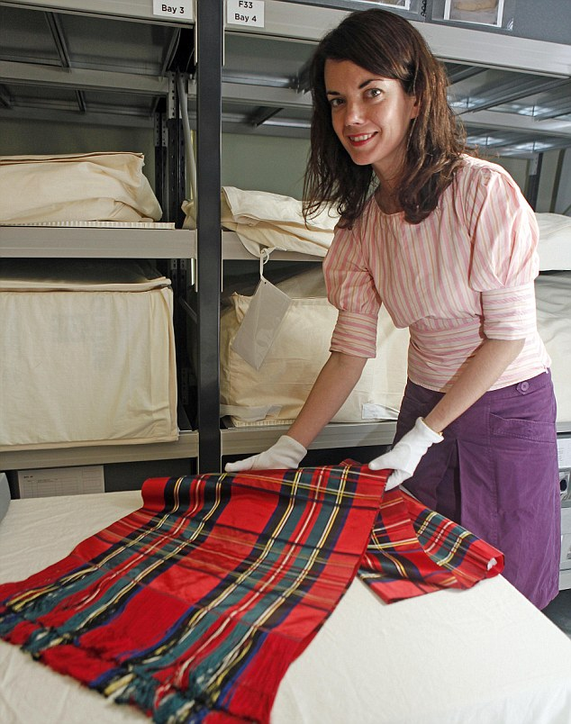 Artifacts: Rebecca finds a Royal Steward tartan silk shawl, worn by Queen Victoria on trips to Balmoral, which she mentioned in her diary