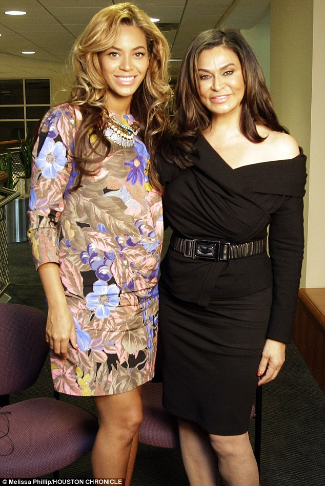 Lending her support: Beyonce joined her mother Tina Knowles, right, at the University of Houston. Tina was featured at the university's Friends of Women's Studies Living Archives programme, which honours the achievements of local women