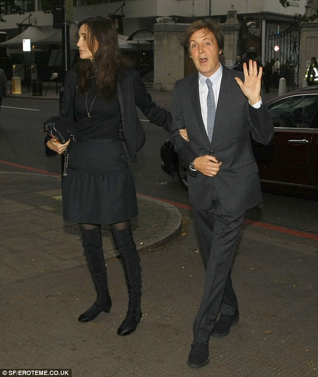 All you need is love: Sir Paul McCartney and Nancy Shevell wave to fans the day before they are due to wed