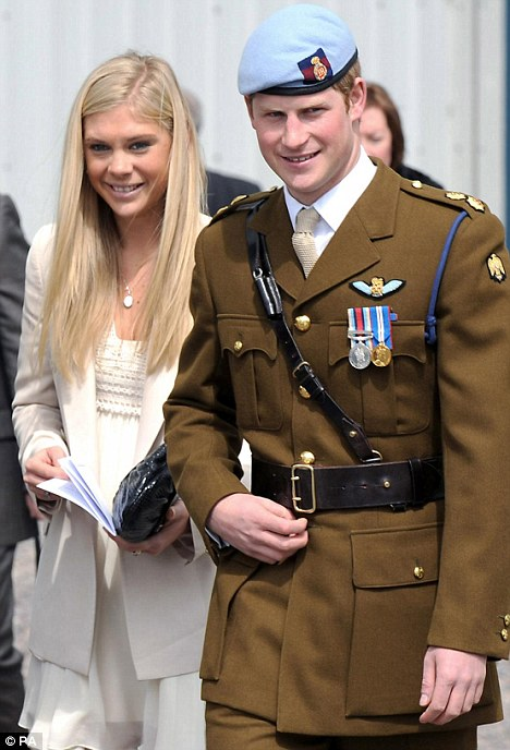 Back together? Prince Harry pictured with girlfriend Chelsy Davy last year. The couple could rekindle their romance once Harry returns from the U.S.