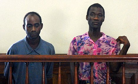 Jailed: Steven Monjeza and Tiwonge Chimbalanga were convicted of unnatural acts and gross indecency, and sentenced to 14 years hard labour