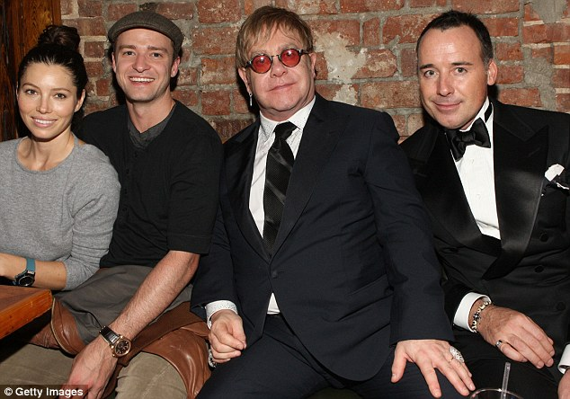 Elton gets the party started: JT and Jess party with Elton and his partner, David Furnish