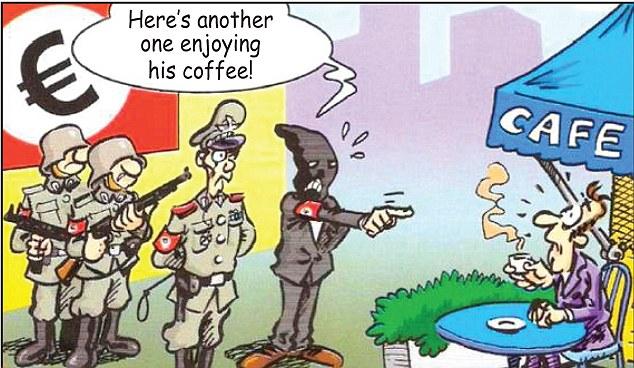 Dibujos animados comparaciones que aparecen en los periódicos griegos han llamado con los nazis: satíricos
