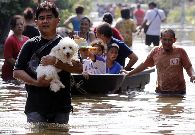 Evacuation: A man carries his pet dog to safety as a family pull a plastic boat along the floodwaters near Chao Phraya River in Bangkok