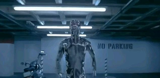 The robot's gait is similar to that of the T-1000 cyborg in Terminator 2: Judgment Day