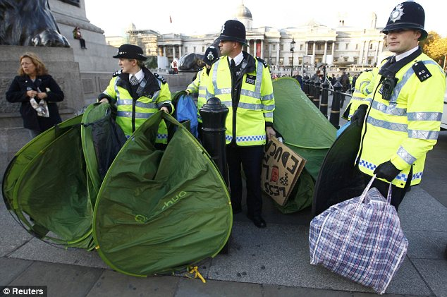 Removal: But police were able to clear the square of tents and protesters within an hour